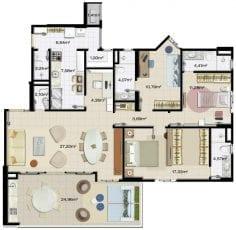 Apartamento 3 quartos, 3 suítes, 3 vagas de garagem e living ampliado.