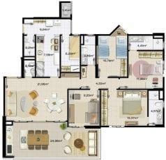 Planta baixa do apartamento 4 quartos, com 2 suítes, 3 vagas na garagem, ampla varanda gourmet