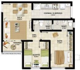 Planta baixa do apartamento 2 quartos com suíte e varanda.