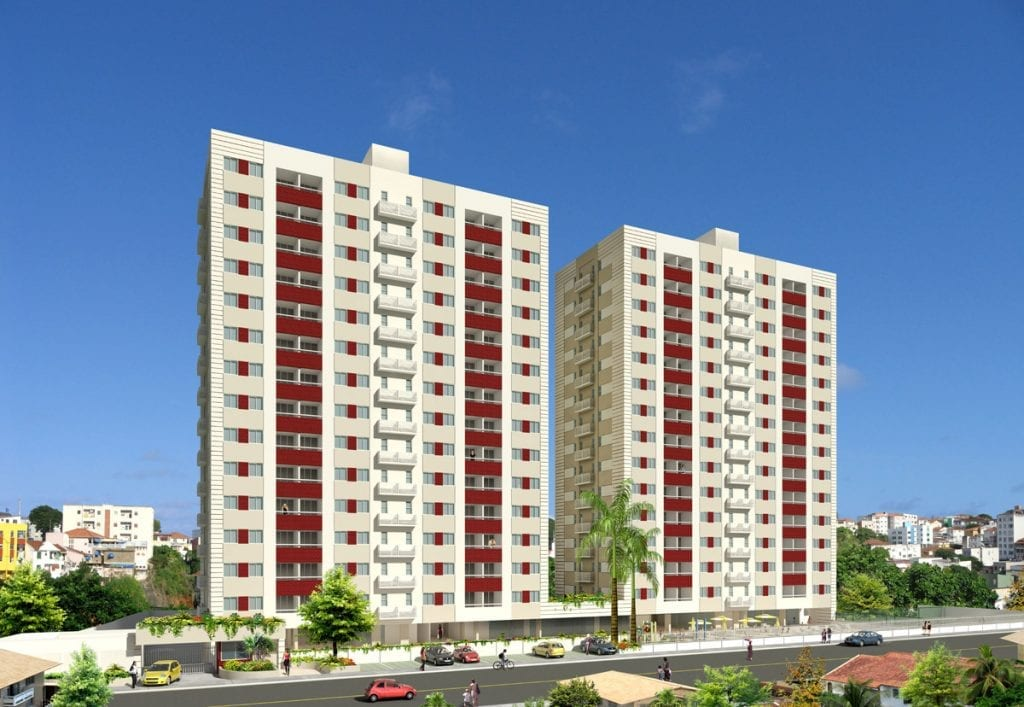 Perspectiva da fachada do Fórmula Residencial Brotas Plus