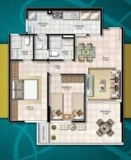 Planta baixa - 2 quartos com suíte, dependência, 2.ª vaga de garagem opcional, ampla varanda, área privativa de 71,67m2