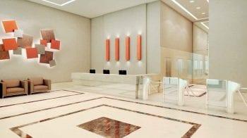 Perspectiva artística do lobby comercial do Mondial Salvador Office