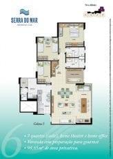 Torre Atlântico - Opção 6 - 3 quartos, sendo uma suíte, Home Theater e Home Office, varanda com preparação para gourmet, 98,65m2 - Coluna 5