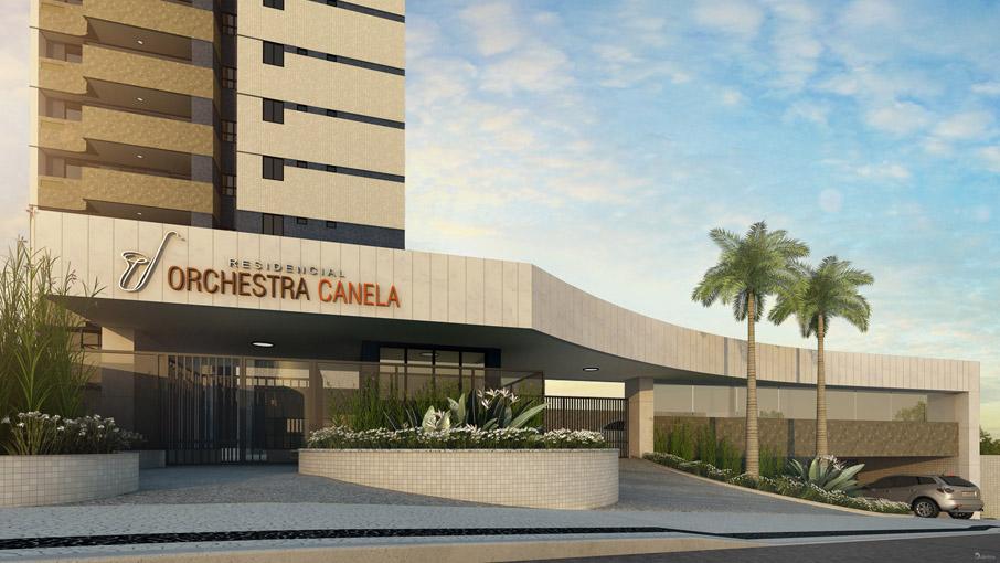 Perspectiva da entrada do Residencial Orchestra Canela