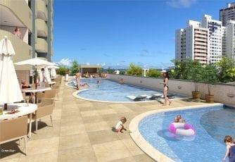 Perspectiva da piscina do Residencial Cidade de Ituberá
