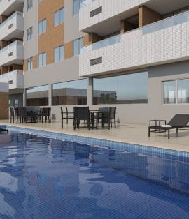 Perspectiva da piscina Adulto e Infantil do Residencial Madrid
