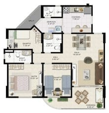 Planta Baixa - 3 quartos com suíte - Torre Leste