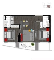 Planta 2 dormitório - flat - final 02 (63,63 m2 privativos) - do 19º ao 30º andar.