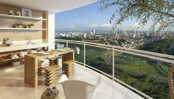 Fernanda Marques: Perspectiva da varanda do Condomínio Reserva do Pomar
