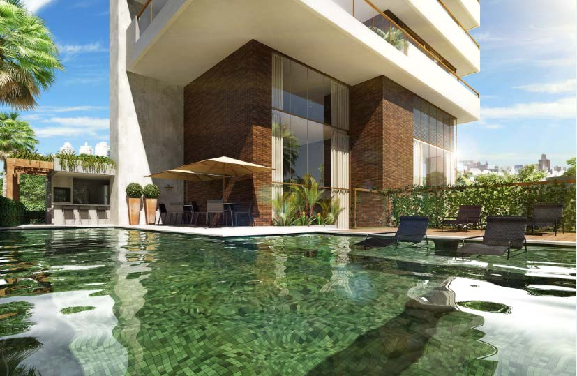 Perspectiva da piscina do Panorama Residências da Barra