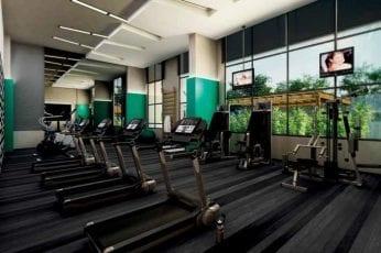 Perspectiva artística do fitness do Mondial Salvador Residence