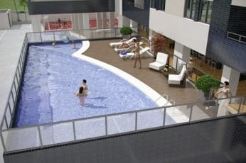 Perspectiva da piscina do Mare Nostrum Residencial