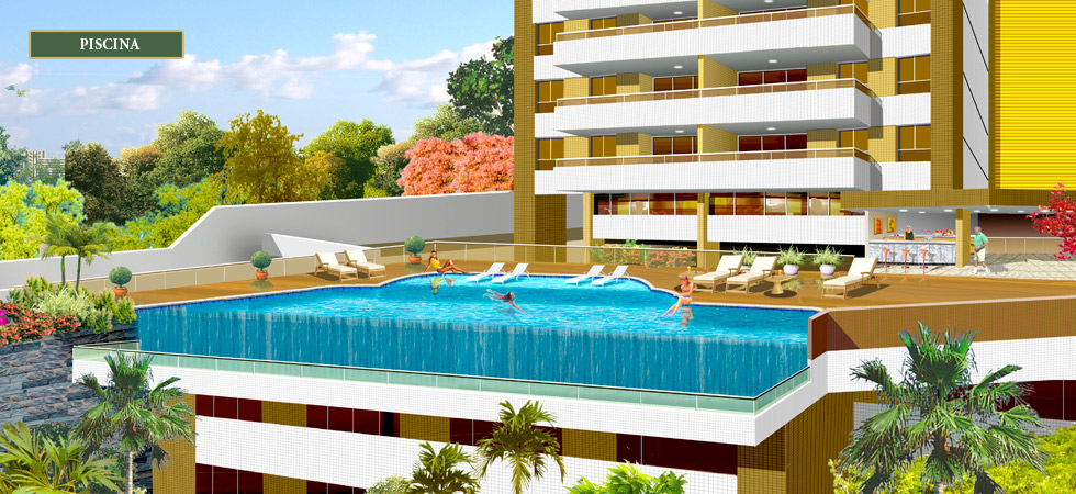 Perspectiva da piscina do Residencial Maria Carmem Vilas Boas
