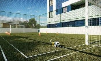 Perspectiva do campo de futebol