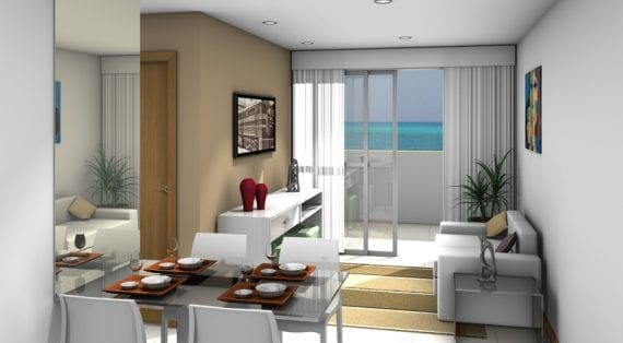 Perspectiva do living do Residencial Torre Mariano