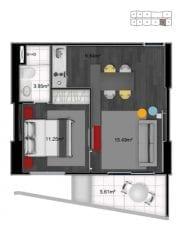 Planta 1 dorm. flat - final 02 (44,02 m2 privativos) - do 1º ao 18º andar
