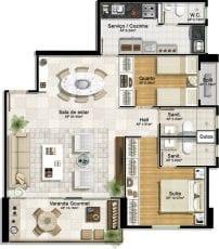 Planta baixa - 2 quartos com suíte e living ampliado 2