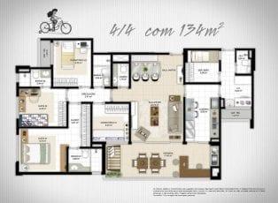 Planta Baixa - 4 quartos com 134m2