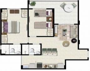 Planta baixa - Apartamento Tipo com 61,74m2