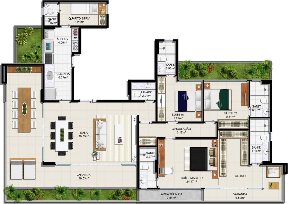 Planta baixa – Apartamento Tipo – Suíte Master Ampliada – 3 suítes