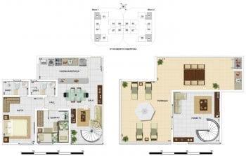 Planta baixa - Cobertura Duplex Tipo A2 - 104,16m2, área privativa inclui 38,43m2 de terraço