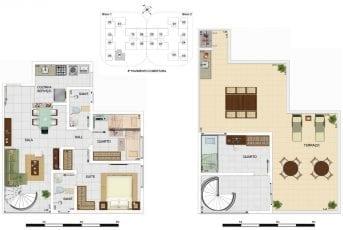 Planta baixa - Cobertura Duplex Tipo B - 107,18m2, área privativa inclui 40,00m2 de terraço