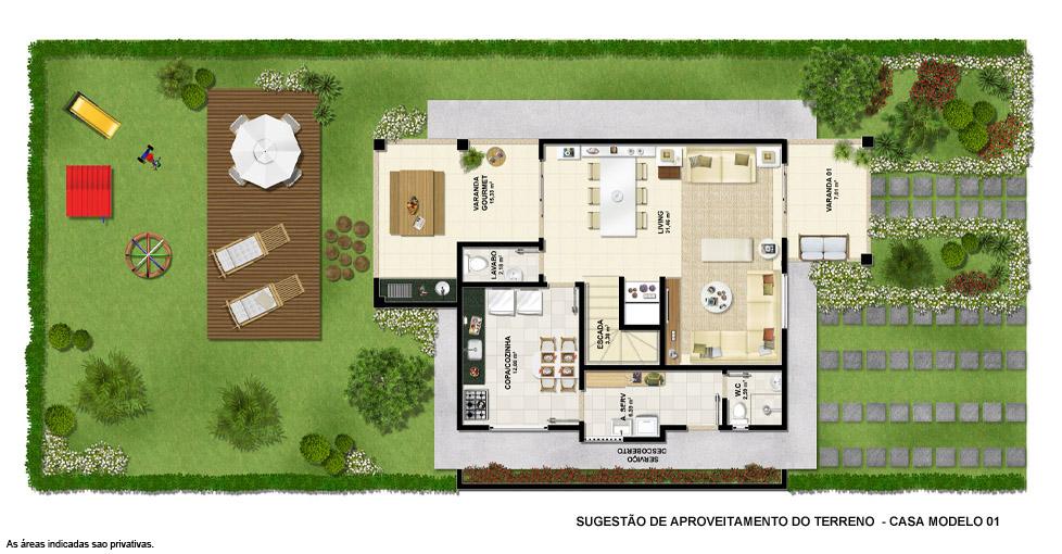 Planta baixa – Terreno Casa modelo 1
