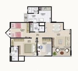 Planta Baixa - Tipo 01 - 3 quartos com suíte