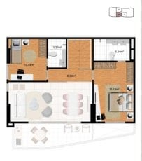 Planta duplex superior - final 2 (120,42 m2 privativos) - do 31º, 32º e 33º andar
