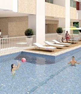 Perspectiva da piscina
