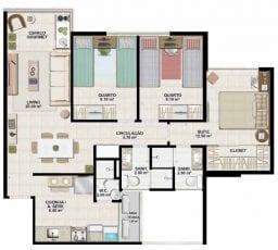 Planta baixa tipo b do apartamento tipo 71,90m2