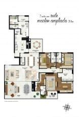 Planta baixa do apartamento com 305m2 e 3 suítes master ampliada na Mansão Bahiano de Tênis, 3 e 4 quartos na Graça