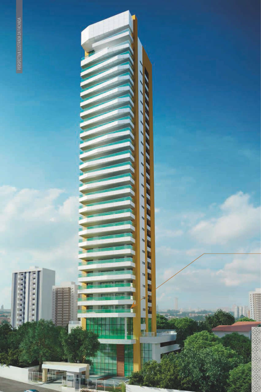 Perspectiva da fachada do La Vue Ladeira da Barra, apartamento 4 quartos e apartamento cobertura no bairro da Barra em Salvador