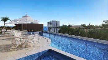 Perspectiva da piscina do Allure Residencias, apartamento 2 suítes no Jardim Armação em Salvador, Bahia