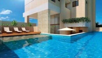 Perspectiva da piscina do Giardino Loreto, apartamentos a venda com 3 e 4 quartos no bairro da Graça em Salvador, Bahia.