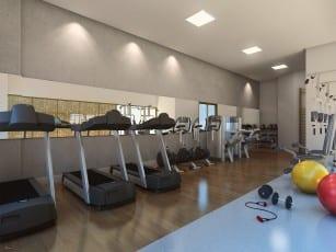 Perspectiva do espaço fitness do Allure Residencias, apartamento 2 suítes no Jardim Armação em Salvador, Bahia