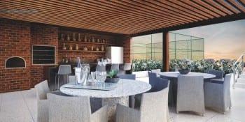 Perspectiva do espaço gourmet do La Vue Ladeira da Barra, apartamento 4 quartos e apartamento cobertura no bairro da Barra em Salvador