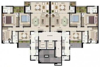 Planta baixa do pavimento padrão do Giardino Loreto, apartamentos a venda com 3 e 4 quartos no bairro da Graça em Salvador, Bahia.