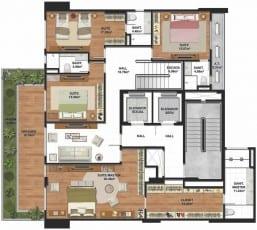Planta baixa do pavimento superior do apartamento cobertura do La Vue Ladeira da Barra, área íntima com acesso de elevador.