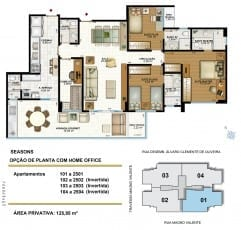Apartamento 3 quartos com home office de 125,95m2 de área privativa do Seasons Aquarius