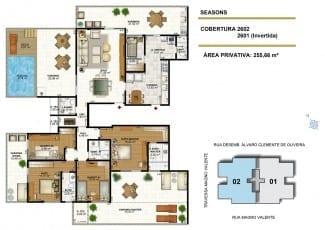 Apartamento cobertura de 255,66m2 de área privativa do Seasons Aquarius