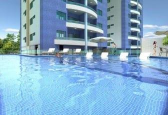 Perspectiva da piscina do Garibaldi Residence