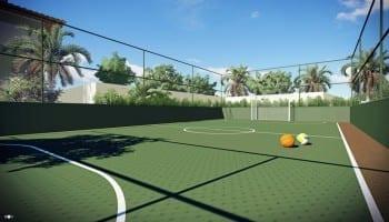 Perspectiva da quadra de futebol do Itapuã Parque, apartamentos à venda em Salvador, Bahia com 2 quartos e 3 quartos no bairro de Itapuã.