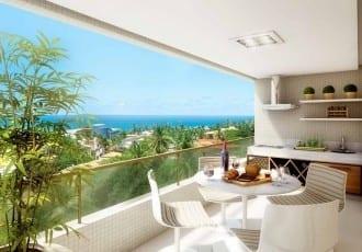 Perspectiva da Varanda Gourmet do apartamento padrão de 3 suítes do Parque Tropical