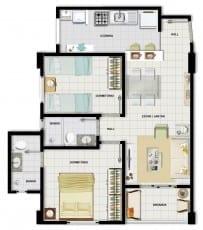 Perspectiva do apartamento 2 quartos com suíte do Edifício Francisco Jorge