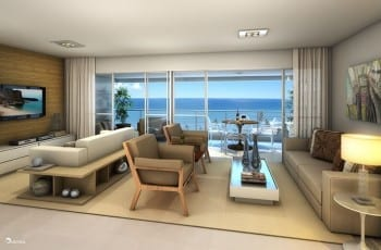 Perspectiva do living do apartamento de 140m²