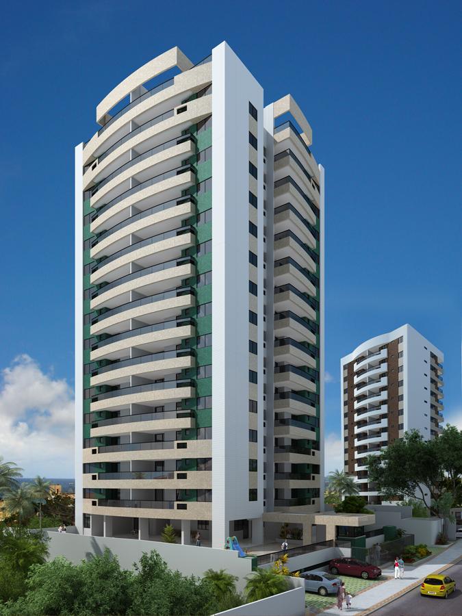 Perspectiva Fachada do Residencial Atlantic House, localizado no bairro de Jardim Armação, em Salvador.