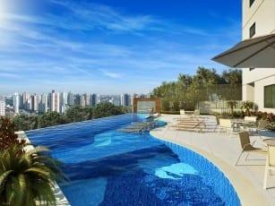 Perspectiva ilustrada da piscina com borda infinita do empreendimento.