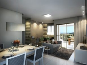 Perspectiva Living ampliado do Stupendo, com 67,64 m2.
