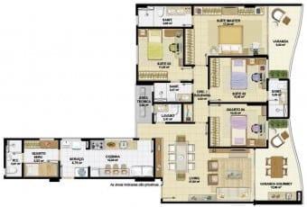 Planta baixa do apartamento 04 quartos, sendo 03 suítes e uma delas ampliada do Nautillus Jardim Armação.